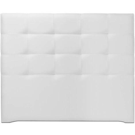 Ventadecolchones - Cabecero Modelo Tablet Largo Tapizado en Polipiel Blanca medida 121 x 125 cm (Para cama 105 ó 120 cm) - Blanco