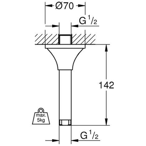 Grohe Rainshower Deckenauslass 27484 Länge 292mm chrom//Regendusche