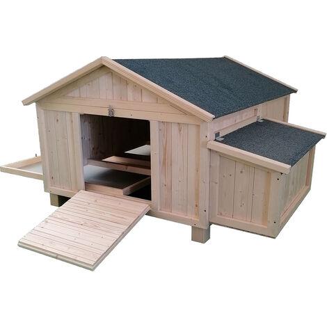 Forest Style- Poullailler Simple Cassie en Bois Brut - 1,5m² - 2 Poules - Pondoir - Toit Amovible - Porte d'Accès avec Rampe- Garantie 1 an - H90 x L150 x l110 cm