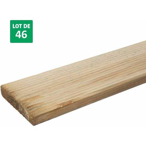 Lot de 46 lames de terrasse en bois pour clôture persienne 9,6*240cm - Diego
