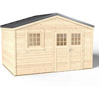 Abri de Jardin Premium Shelty + - Toiture en Acier Galvanisé Garantie 10 ans - Sol Traité Autoclave Classe 4 - Fenêtre Fixe - Double Porte L175*H183 - Quincaillerie 100% inoxydables - 395x280xH.201cm/11m²