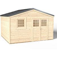 Abri de Jardin Premium Shelty + - Toiture en Acier Galvanisé Garantie 10 ans - Sol Traité Autoclave Classe 4 - Fenêtre Fixe - Double Porte L176*H183 - Quincaillerie 100% inoxydables - 349x395xH.201cm/14m²