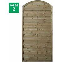 Lot de 2 panneaux ARC occultants de clôture en bois traité - 90x180cm - FETICHE