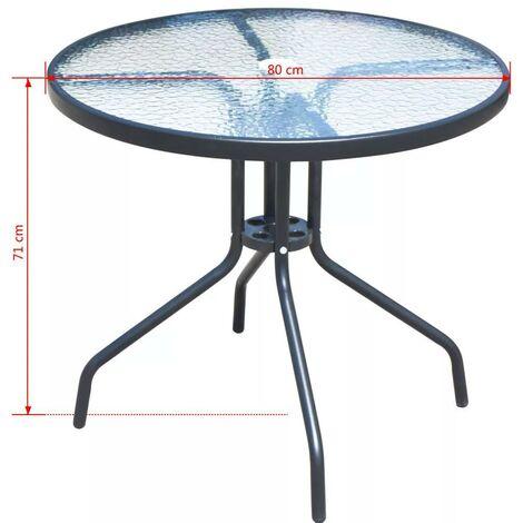 Set Tavolo E 4 Sedie Pieghevoli Da Giardino In Metallo E Textilene Nero