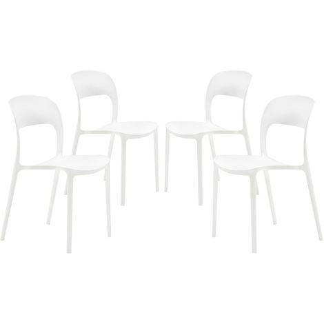 Set di 4 sedie Eiffel in plastica trasparente per il tempo libero con gambe in legno soggiorno bianco camera da letto per sala da pranzo N//A YJCfurniture
