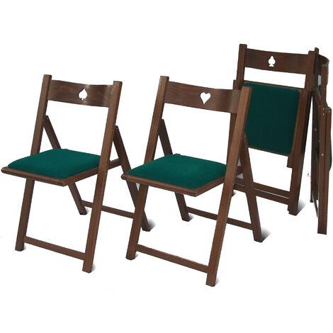 4 Sedie In Legno.Set 4 Sedie Pieghevoli In Legno Seduta In Cotone Verde Del Fabbro Gioco