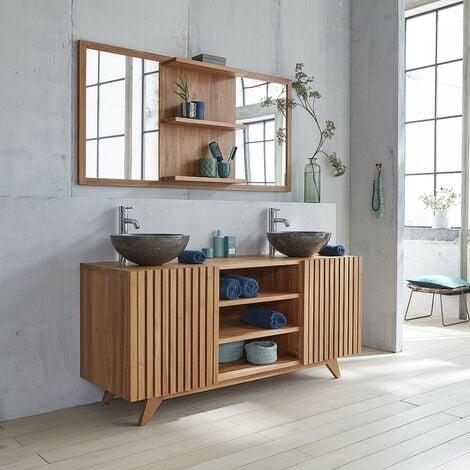 meuble de salle de bain en bois de teck 160 naturel