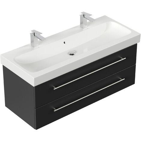 Mueble de baño con Geberit Icon lavabo 120cm Negro satinado