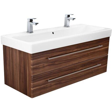 Mueble de baño con Geberit Icon lavabo 120cm Nuéz