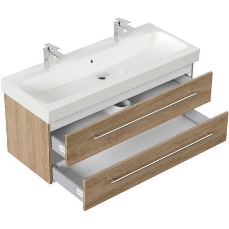 Mueble de baño con Geberit Icon lavabo 120 cm roble claro
