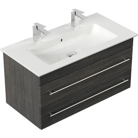 Mueble de baño con Villeroy &Boch Venticello Lavabo 100cm Doble Antracita vetado