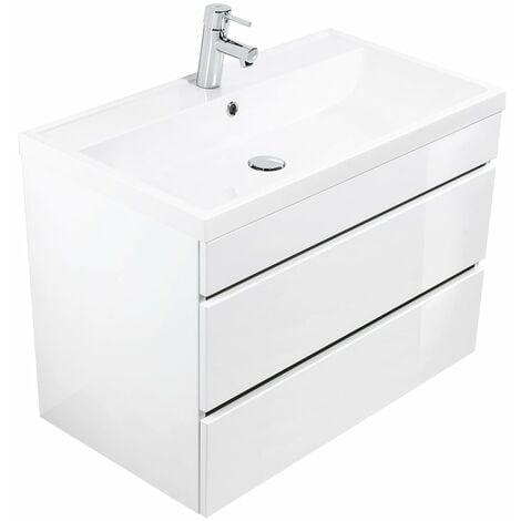 Mueble de baño Via 80 Blanco brillante con cajones sin tiradores