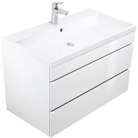 Mueble de baño Via 90 Blanco brillante con cajones sin tiradores