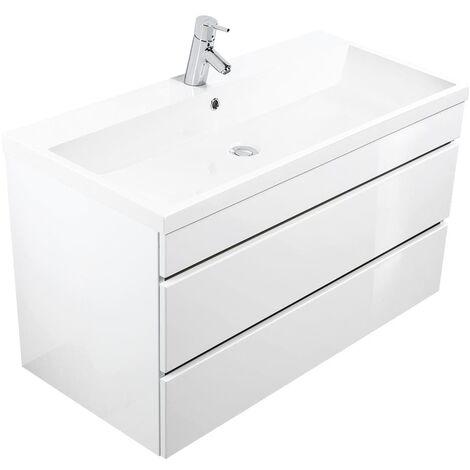 Mueble de baño Via 100 Blanco brillante con cajones sin tiradores