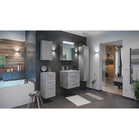 Set de mueble de baño Firenze 60 (5 part./C) Roble claro y armario espejo