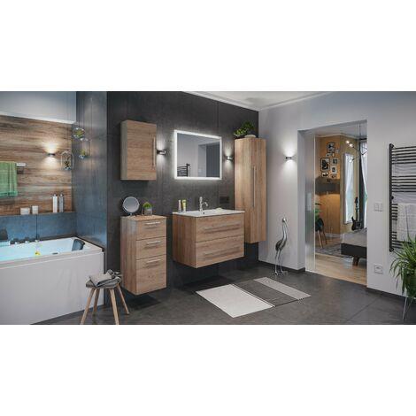 Set de mueble de baño Firenze 80 (5 part./B) Roble claro incl. Espejo-LED