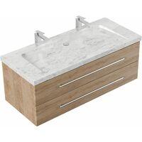 Mueble de baño mármol Carrara Blanco Damo 130cm 2 agujero para grifo Roble claro