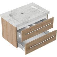 Mueble baño mármol Carrara Blanco Damo 75cm sin agujero para grifo Roble claro