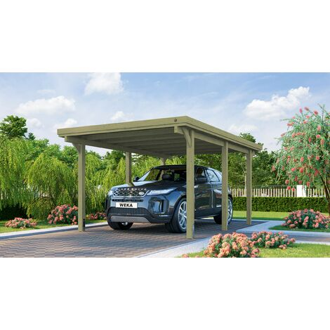 Carport WEKA pour voiture avec toit acier.