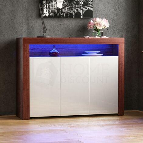 Nova 3 Door LED Sideboard, Walnut & White