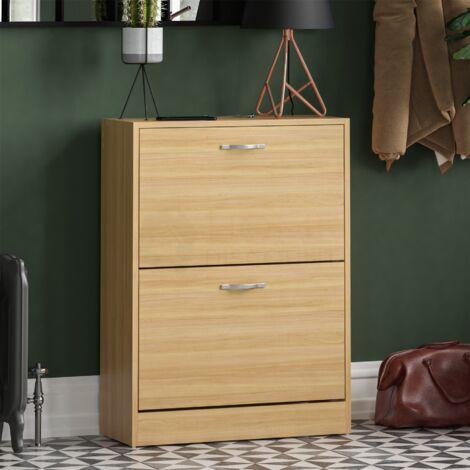 2 Drawer Shoe Cabinet, Pine
