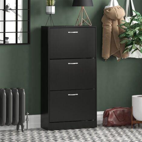 3 Drawer Shoe Cabinet, Black