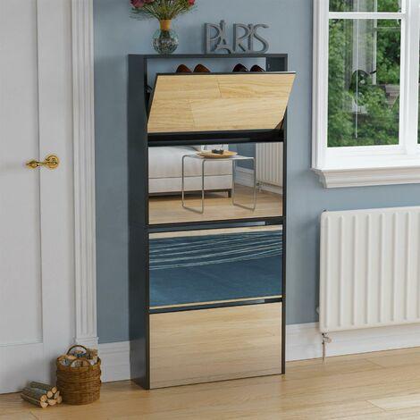 Welham 4 Drawer Mirrored Shoe Cabinet, Black