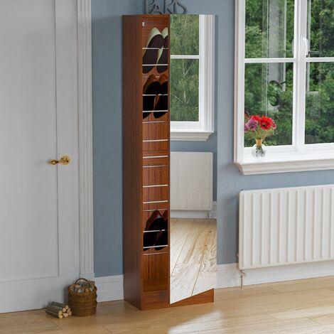 Kirkham Mirrored Shoe Cabinet, 180cm, Walnut