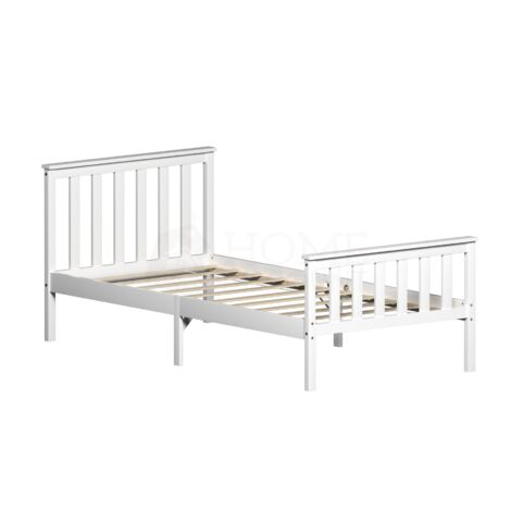 Milan Single Wooden Bed, High Foot, White