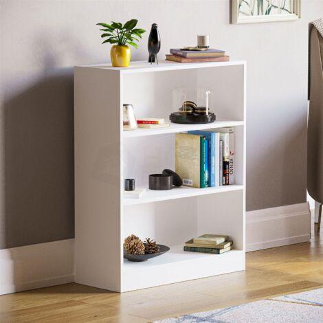 Cambridge 3 Tier Low Bookcase, White
