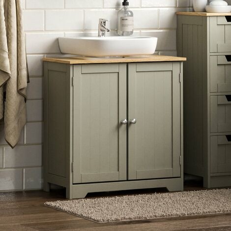 Priano 2 Door Under Sink Cabinet, Grey