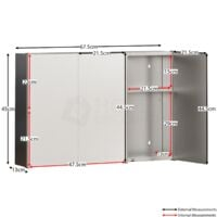 Tiano Stainless Steel Mirrored Triple Cabinet