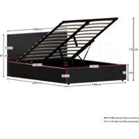 Lisbon Double Ottoman Faux Leather Bed, Black