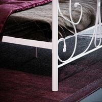 Barcelona Small Double Metal Bed, White