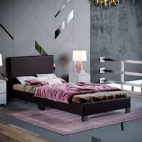 Lisbon Single Faux Leather Bed, Brown
