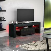 Luna 1 Drawer LED TV Unit, Black