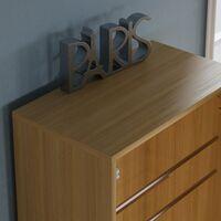 Kirkham Mirrored Shoe Cabinet, 180cm, Oak