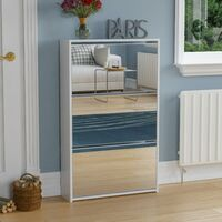Welham 3 Drawer Mirrored Shoe Cabinet, White