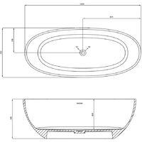 Vasca da bagno free standing silja artificial stone bianco opaco matt *** confezione 1