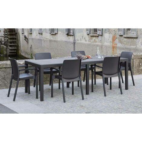 Tavolo rettangolare allungabile da esterno, colore antracite, cm 150 x 72 x 90 (chiuso).