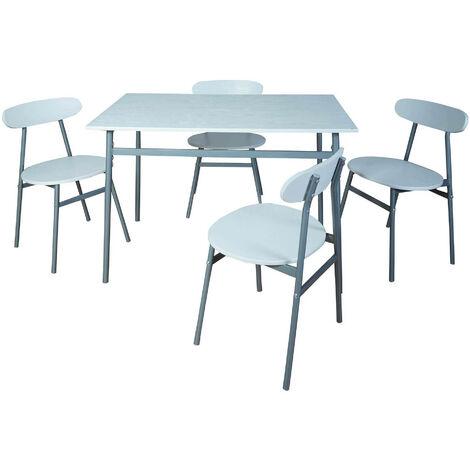 Set Tavolo 4 Sedie Bianco E Metallo Dimensioni Tavolo 110 X 70 X 75 Cm