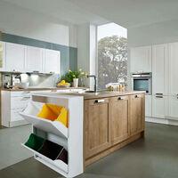 Pattumiera portarifiuti salvaspazio per differenziata con quattro secchi, colore bianco, cm 60 x 92 x 25