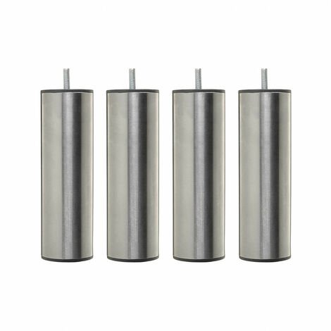 4 pieds cylindriques inox 20 cm - Gris
