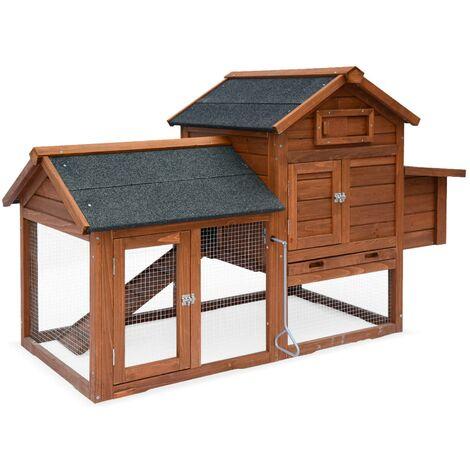Wooden chicken coop - GALINETTE, for 3 chickens, backyard hen cage, indoor and outdoor space