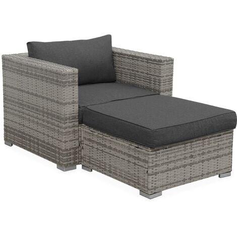Garden sofa sets - armchair and footstool in rattan - Mixed grey, grey cushions