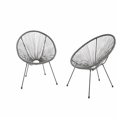 Egg designer string chairs - Acapulco Grey- PVC designer string chairs