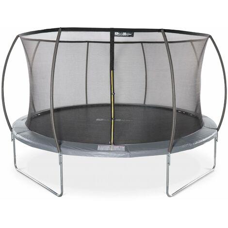 Round trampoline 14 ft Grey with internal safety net - Venus Inner - New Design - Garden trampoline with curved tubes Ø430 cm |Quality PRO. | EU standards.