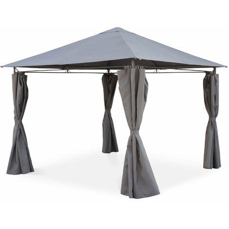 Gazebo 3 x 3 m - Elusa - Grey canopy - Garden tent with curtains, terrace gazebo shelter