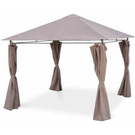 Gazebo 3x3m - Elusa - Beige-Brown canopy - Gazebo with curtains, terrace gazebo shelter