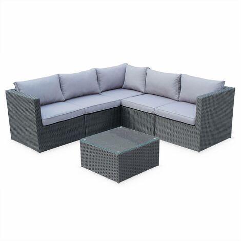5-seater rattan garden furniture sofa set table, black weave / grey cushions. Ready assembled